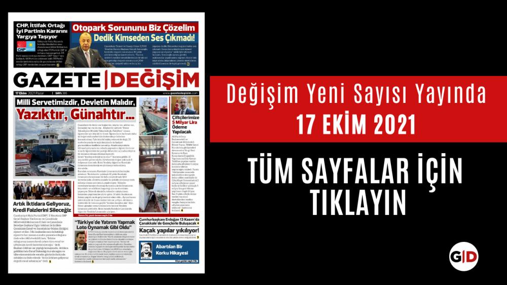 17 Ekim 2021 Tarihli Değişim Gazetesi Manşeti